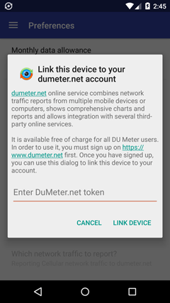 Connect to your DuMeter.net account (DU Meter for Android)