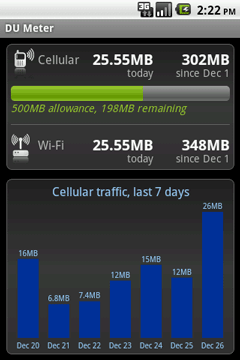 Main screen (DU Meter for Android)